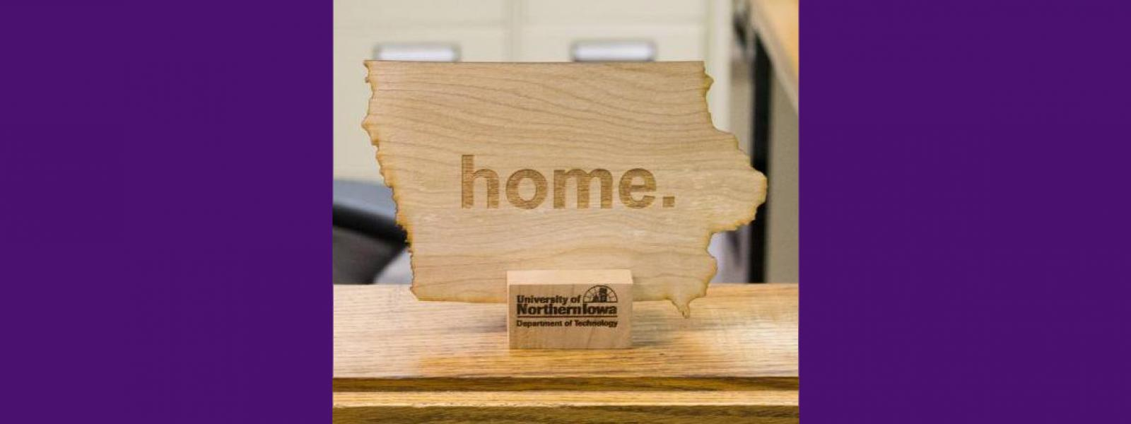 Iowa Home wooden sign